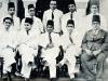 CMSF Committee of Management 1949. Seated (L-R): M.L.M. Mackeen, A.M.A. Azeez (Chairman), H.S. Ismail (President BoT), Faleel A. Caffoor (Secretary) & M. Mathany Ismail. Standing (L-R): M.U.M. Saleem, Dr. A.R.M. Waffarn, M. Rafeek, M.H.S. Marikar & A.J.M. Jameel.