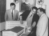 H.E. Ahmad Foad Naguib, Ambassador for Egypt inspecting model of the Ceylon Muslim Cultural Center at Zahira College in 1959