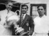 A.K.M. Mohideen, winner of Queens Cup for the best marksman, with Azeez and Captain Omar Muhlar in 1960