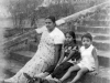 Ummu, Marina and Ali on the steps at 'Mount Airy' in Kandy in 1944