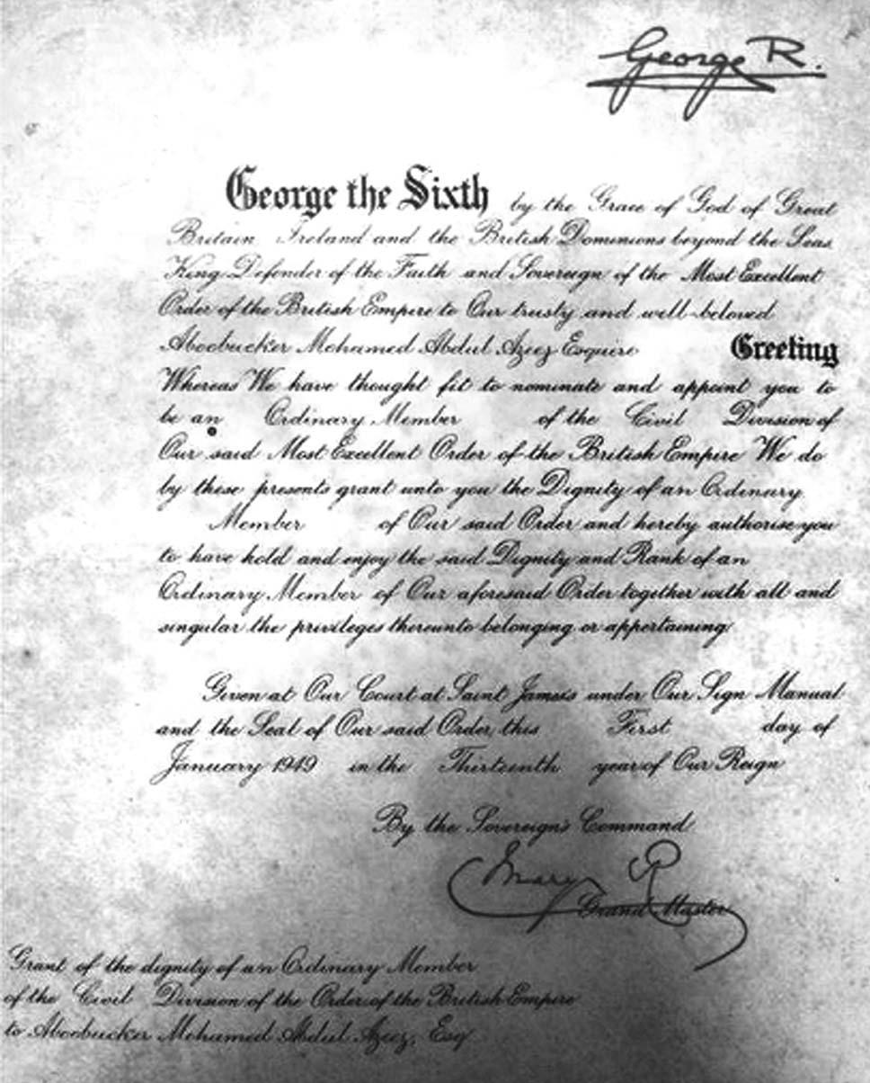 Award of Member of the British Empire (M.B.E.) on 1.1 1949